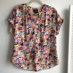 W5 Multicolor Floral Blouse with Cuff Sleeves